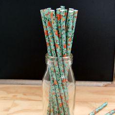Vintage Rose Paper Straws 25pcs