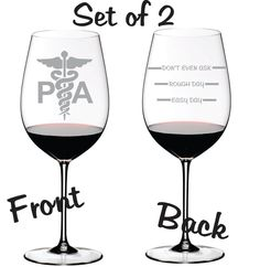 Etched Physician Assistant Glass Set of 2 by WulfCreekDesigns, $29.95