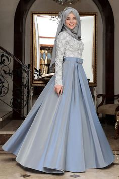 hijab dress Al - Marah - Beril Abiye - Mavi. Hijab Gown, Hijab Evening Dress, Hijab Dress Party, Blue Evening Dresses, Muslimah Wedding Dress, Muslim Wedding Dresses, Muslim Dress, Dress Brokat Muslim, Dress Muslim Modern