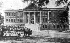 Class portrait in front of Leon High School - Tallahassee, Florida Located on the north side of Park Avenue between Duval and Bronough. Built: 1910/11. Became Lively Technical after new Leon was built on Tennessee Street in 1936/37. Demolished: 196-. Shown on Dedication Day, May 16, 1911.