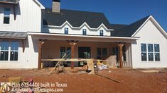 Architectural Designs Modern Farmhouse Plan 62544DJ being built in Texas. 4 beds, 3.5 baths, and over 2,700 sq. ft. Ready when you are. Where do YOU want to build? #farmhouse #readywhenyouare #houseplan