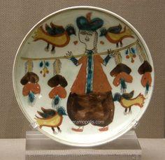 Kutahya Plate Man on Horse Figure – Pera Museum Turkish Tiles, Turkish Art, Benaki Museum, Middle Eastern Art, Man On Horse, Ceramic Materials, Pottery Designs, Male Figure, Hanging Ornaments