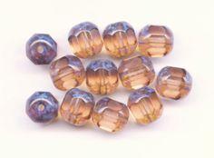 Vintage Czech Cathedral Light Topaz Beads by PickleValentine