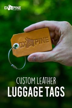 Our luggage tags have traveled around the world - they can be customized with a logo, initials, a full set of contact information, or anything your heart desires Leather Luggage Tags, Leather Gifts, Graduation Ideas, Custom Leather, Full Set, Ox, Travel Inspiration, Traveling By Yourself, Pine