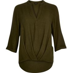 River Island Khaki green wrap front V-neck shirt ($60) ❤ liked on Polyvore featuring tops, blouses / shirts, khaki, women, shirts & tops, slouchy tops, ruched v neck top, brown tops e green v neck shirt