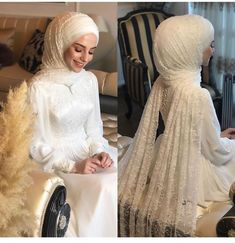You will find different rumors about the real history of the wedding dress; tesettür First Narration; Hijabi Wedding, Wedding Hijab Styles, Wedding Robe, Muslimah Wedding Dress, Hijab Style Dress, Muslim Brides, Pakistani Wedding Dresses, Modest Wedding Dresses, Bridal Dresses