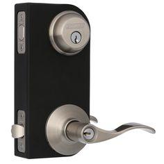 Schlage Accent Satin Nickel Deadbolt Single Cylinder Security Set Lever