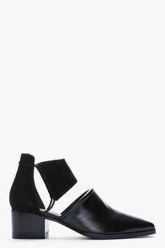 ALEXANDER WANG Black Kid suede and Polished leather cut-out Nadine boots