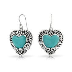turquoise jewelry | Home / Bling Jewelry Turquoise Heart Sterling Silver Drop Earrings