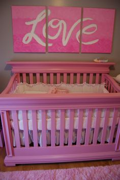 My husband painted this Pink Crib for our baby girl's nursery
