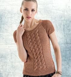 bfbde47b062 knit top for woman with braided front- Modèle pull torsades Femme - Modèles  Femme -