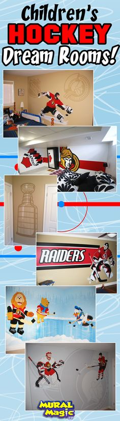 Mural paintings of hockey themes for children's rooms and man caves in Ottawa Ontario. Hockey Bedroom, Kids Bedroom, Bedroom Themes, Bedroom Ideas, Ottawa Ontario, Hockey Stuff, Man Caves, Toronto Maple, Reno