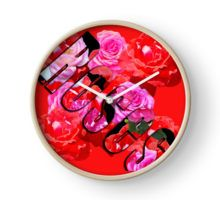 Ruby Red And Pink Roses Text And Design Clock