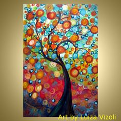 whimsical art | FALL SEASON Modern original Whimsical Tree Landscape Oil Painting by ...