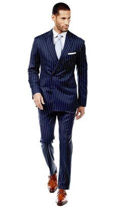 Navy Bold Pinstripe Suit  #menswear #mensfashion #graysuit #mensstyle #glennplaid #wedding #weddingsuit #groom #groomssuit #groomsmen #groomsman #weddingstyle #suitandtie #bluesuit #plaidsuit #strippedsuit #pinstripes