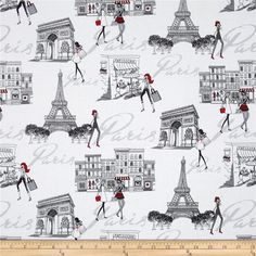 Timeless Treasures Francophile Paris Scenic White from @fabricdotcom  Designed for Timeless Treasures, this cotton print fabric is perfect for quilting, apparel, and home decor accents. Colors include black, red, white, and shades of grey.