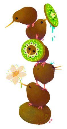 Kiwi by DanBee Kim, via Behance. ~ Sister, the kiwis have kiwi! Bird Drawings, Cute Drawings, Animal Drawings, Art Maori, Kiwi Bird, Kiwiana, Bird Illustration, Design Illustrations, Totoro