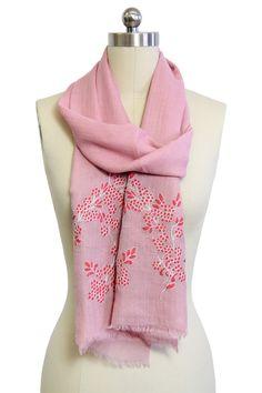 Cherry Blossom Merino Wool Scarf - Pink