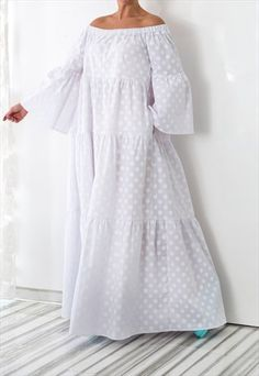 NEW collection, white maxi dress, boho dress White Maxi Dresses, Trendy Dresses, Cotton Dresses, Nice Dresses, Casual Dresses, White Dress, Dresses With Sleeves, Summer Dresses, Summer Maxi