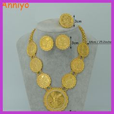 iwowpop Anniyo Gold Color Coin Jewelry Set Long Necklace/Bangle/Ring/Earrings Mexico Coin Ethiopian Wedding Gift African Jewelry - Brand Name: anniyo Coin Jewelry, Coin Necklace, Ring Earrings, Bridal Jewelry, Jewelry Sets, Jewelry Accessories, Necklaces, Ethiopian Wedding, Gold Hair Clips
