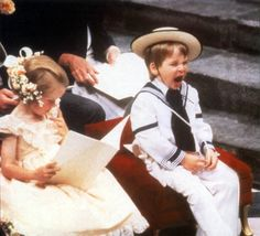 Four year old Prince William yawning during the church service for Andrew & Sarah's wedding.