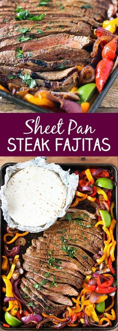 Sheet Pan Steak Fajitas - seasoned flank steak and tender onions and bell peppers in a one sheet pan dinner. So easy and delicious! Easy and Fast Steak Fajitas Dinner Recipe Idea Mexican Food Recipes, Beef Recipes, Cooking Recipes, Healthy Recipes, Delicious Recipes, Beef Meals, Sirloin Recipes, Shrimp Recipes, Steak Recipes
