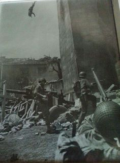 A sniper falls from a tower in Italy 1944