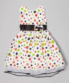 White Rainbow Polka Dot Dress - Infant, Toddler & Girls