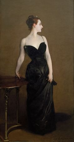 John Singer Sargent, Madame X.  Art Institute, Chicago.  notice repainting of her right shoulder