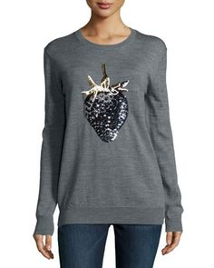 Strawberry Sequined Sweater, Medium Gray by Markus Lupfer at Neiman Marcus.