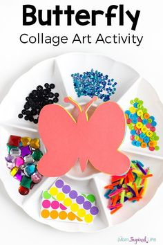 Butterfly collage art activity for spring! A fun butterfly craft and process art activity for kids.