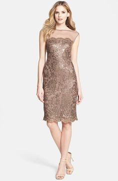 $338, Illusion Yoke Embellished Lace Sheath Dress by Tadashi Shoji. Sold by Nordstrom. Click for more info: http://lookastic.com/women/shop_items/125757/redirect