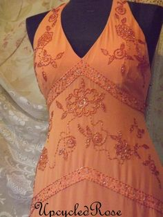 Upcycled Cantaloupe Bohemian Hippie Maxi Dress by UpcycledRose, $53.70