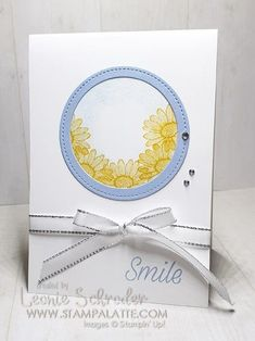 Step up your masked Daisy card with a simple Stitched shape circle frame.  Uses Daisy Lane Stamp Set from Stampin Up. Don't miss my Latte Stack club this month - includes the Daisy Lane  stamp set,  kits and tutorials! #stampinup #stampalatte #makeacard #lattestackocards #cardsbymail #daisylane #quickandeasy