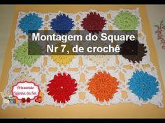 Montagem do Square Nr 7, de crochê (toalha de mesa ou colcha)