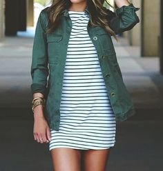 army green jacket + striped dress