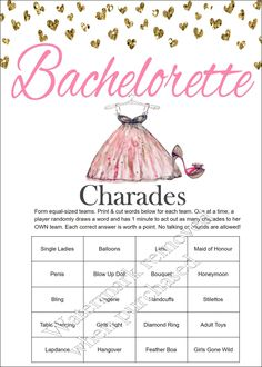 Bachelorette Party Charades - Bachelorette Charades - Bachelorette Party Games - Bachelorette Games -Bachelorette Party Games Printable -Hen by SparklingEverAfters on Etsy https://www.etsy.com/listing/465121029/bachelorette-party-charades-bachelorette