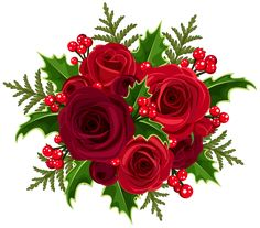 Christmas Rose Decoration PNG Clip Art Image