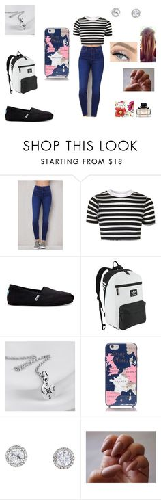 """Back to School Outfit"" by daniellelopez808 ❤ liked on Polyvore featuring PacSun, Topshop, TOMS, adidas Originals, Kate Spade and GET LOST"