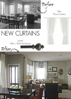 New Ikea Curtains - Inexpensive #homedecor that looks good RITVA in wh.  Lowe's for rods, Allen and Roth.