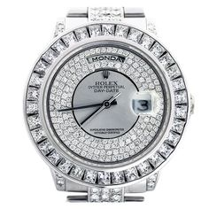 1stdibs - ROLEX White Gold Day-Date Wristwatch with After-Market Diamonds explore items from 1,700 global dealers at 1stdibs.com. OOOOOOHHHHHHH! :)