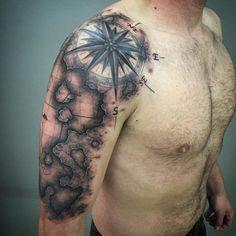 Northwest Map & Compass Tattoo by Nic LeBrun - Northwest Map & Compass…