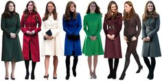 A cinched coat, typically in a jeweled tone, is the Duchess' signature look. Note that the look generally comes with a demure hand clasp that looks straight out of charm school.