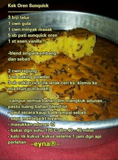 Kek Oren Sunquick Pastry Recipes, Cake Recipes, Dessert Recipes, Cooking Recipes, Resepi Butter Cake, Resep Cake, Asian Cake, Loaf Cake, Brownie Cake