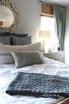 Bedroom Decorating - Navy Gold and White - The Inspired Room