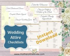 ♥ Planning a wedding soon? Wondering how to make sure none of the wedding attire details get forgotten? Use these helpful worksheets to guide you and help you get organized for all the decisions you need to make while planning your big day.  Perfect to print for use in your personal physical wedding planner. Wedding Checklist Printable, Wedding Checklists, Wedding Planning Binder, Wedding Planners, Wedding To Do List, Budget Wedding, Budget Bridesmaid Dresses, Wedding Dress Accessories, Wedding Attire