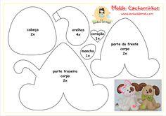 so cute dog pattern, make with felt and use as a brooch. Felt Ornaments Patterns, Felt Patterns, Applique Patterns, Applique Templates, Dog Crafts, Felt Crafts, Fabric Crafts, Dog Template, Elephant Template