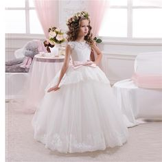 Princess Ball Gown White Lace Flower Girls Dresses For Weddings Cheap 2016 Tulle Belt Bow Knot Custom First Communion Dress Gown-in Flower Girl Dresses from Weddings & Events on Aliexpress.com | Alibaba Group