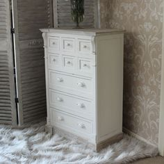 Cream Storage Chest with Nine Drawers - Lyon Range Three spacious drawers at the bottom, for storing large clothes, and six smaller ones at the top for trinkets and accessories