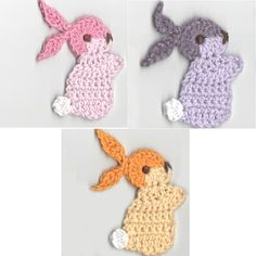 Crochet Bunny Appliques Optional Handmade by Dimana Supplies Animal Embellishments Brown and Beige vary Colors Home decor Kids - Applikationen Easter Crochet, Cute Crochet, Crochet Motif, Crochet Crafts, Yarn Crafts, Crochet Flowers, Crochet Projects, Crochet Appliques, Applique Patterns